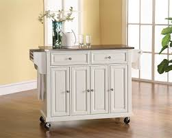stainless steel top kitchen cart island in white