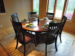 simple dining room with 60 inch round pedestal dining room table black wooden dining chair and leopard print cushions chair