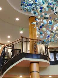 the inn at harbor ss hand blown glass chandelier by local mi artist april