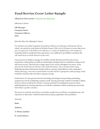 Food Sales Cover Letter Food Service Cover Letter Example