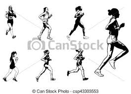マラソン スケッチ ランナー イラスト 女性