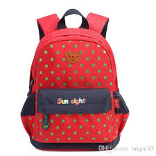 sunny eight clock kindergarten primary kids backpacks children book bags in blue red color dot for 2 6 years old boy character backpacks