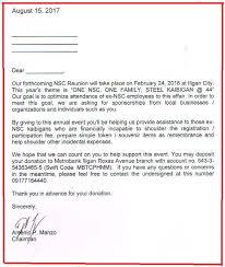 Solicitation Latter Solicitation Letter 2018 Nsc Reunion Iligan Nsc Digest