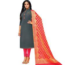 Plain Silk Salwar Kameez Designs Plain Silk Swarovski Handwork Salwar Kameez With Banarasi