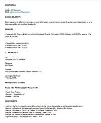 Resume Objectives For Freshers Fascinating 44 Fresher Resume Examples Sample Templates