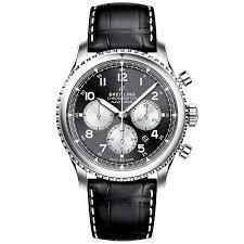 Men's Steel amp; Black Navitimer Breitling Chronograph Watch Dial 43mm 8
