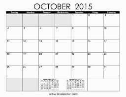 Fillable Calendars 2015 October 2015 Calendar Printable At October 2015 Calendar With Notes