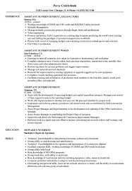 Assistant Superintendent Resume Samples | Velvet Jobs