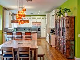colorful kitchen design. Colorful Kitchen Green Wall Color Orange Hanging Lights Wooden Table Design L