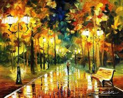 romantic lights palette knife oil painting on canvas by leonid afremov size 24