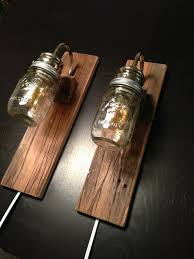diy wall lighting. Rustic Wall Lights Wooden Best Diy Creative Bulb In The Jar Lighting
