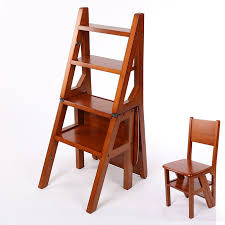 convertible multi functional four step library ladder chair library furniture folding wooden stool chair