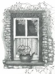 window pencil drawing. ireland drawing - cottage window by sharon blanchard pencil