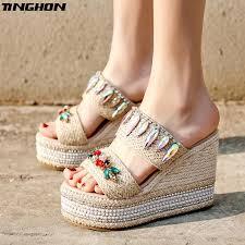 <b>TINGHON Summer</b> Wedge <b>Slippers</b> Platform High Heels <b>Women</b> ...