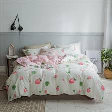 strawberry printed bedding set duvet cover set traditional chinese bedding pink stripe flat sheet king size cotton blue duvet sets kidsline bedding from