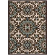 safavieh veranda chocolate cream 7 ft x 10 ft indoor outdoor area rug ver055 0621 6 the home depot