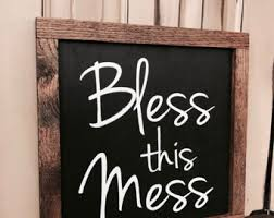 wood sign glass decor wooden kitchen wall: bless this mess christian wall art sign farmhouse style decor rustic home decor farmhouse sign rustic farmhouse wall decor farmhouse