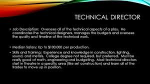 Technical Director Job Description Theatre Professions Part 24 Ppt Video Online Download 1
