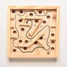 1xclassic maze board kids children education learning intelligence game solitaire game wooden puzzle toy labyrinth balance