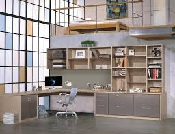 Home office designer Feminine Light Brown Office With Shelves And An Shaped Desk And Grey Fronted Cabinets And Drawers Carrofotos Home Office Storage Furniture Solutions Ideas By California Closets