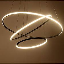 modern pendant lights circular led chandelier adjule hanging three ring h47