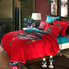 asian bedding sets comforter sets queen elegant red turquoise oriental traditional pattern bedding set queen bedding