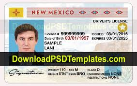 Driver Template License Mexico Psd New
