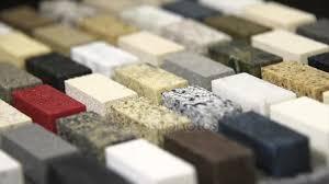 kitchen countertops samples colors quartz granite marble stock footage