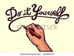 stock vector do it yourself vector writing hand holding marker and writing typographic art text hand made