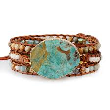 <b>Women</b> Leather <b>Bracelet Unique</b> Mixed <b>Natural</b> Stones Gilded ...