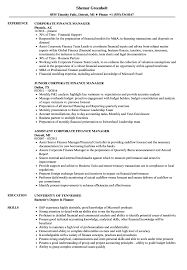 Finance Manager Resume Sample Corporate Finance Manager Resume Samples Velvet Jobs 19