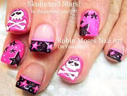 Fun Nails! DIY Stars & Skull Nail Art Design! | Neon Pink Black ...