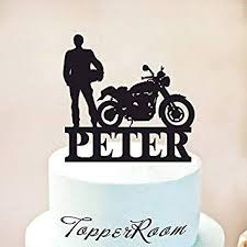 Motorcycle Cake Topper Biker Cake Topper First Name Cake Topper