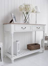 hall table white. The Brittany White Console Table With Shelf And Drawers. Large For Hall O