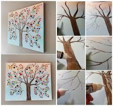 diy office art.  Diy Button Tree Canvas Wall Art Diy Design Decoration Colorfull Round Modern  Minimalist Brown Glue Professional In Diy Office Art A