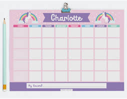 Unicorn Star Chart Personalised Chore Chart Chore And Homework Chart For Kids