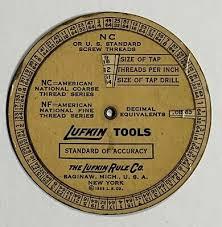 Old Vtg Lufkin Tools Wheel Chart Decimal Equivalent Screw