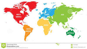 World Map Divided Into Six Continents Each Continent In