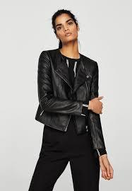 mango zipped biker jacket black