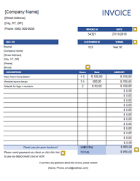 Download Hours Rate Invoice Template Word Pics