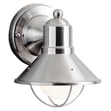 kichler lighting kichler nautical outdoor wall light in brushed nickel 9021ni hover or to zoom