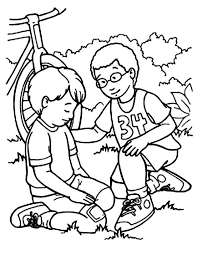 Kindness Kindness Helping Friend Falling From Bike Coloring Pages