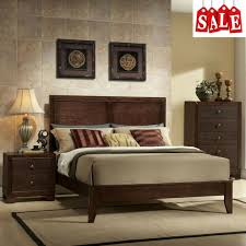 Wooden King Size Bed Frame with Headboard and Low Profile Footboard Sturdy Brown
