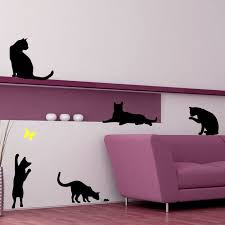 12 cat silhouette wall decals