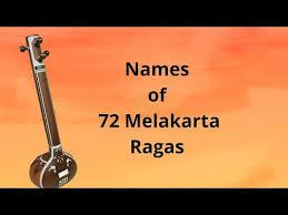 Carnatic Music Ragas Chart Names Of 72 Melakarta Ragas