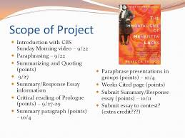 esl the immortal life of henrietta lacks scope of project  esl 119 the immortal life of henrietta lacks scope of project video paraphrasing 2 scope