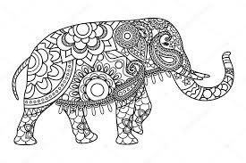 indian elephant coloring pages template stock vector