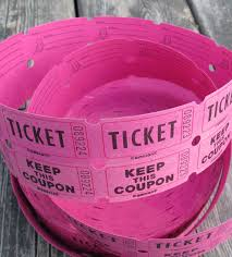 2 part raffle tickets white or hot pink two part tickets girl birthday party tickets