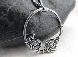 wire pendant necklace wire wrapped jewelry sterling silver wire rose pendant round pendant roses wrapped jewelry