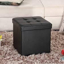 faux leather ottoman. Amazon.com: Ollieroo Faux Leather Folding Storage Ottoman Bench Foot Rest Stool Seat Black 15\u0027\u0027X15\u0027\u0027X15\u0027\u0027: Kitchen \u0026 Dining